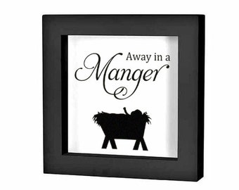 """Christmas Shadow Box Decal Christmas Decoration """"Away in a Manger Nativity Scene"""" Christmas Charger Plate Decal Tile Decal Holiday Decal"""