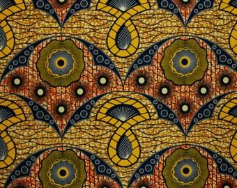 African Fabric 1/2 Yard Cotton Wax Print BEIGE YELLOW ORANGE Blue Abstract
