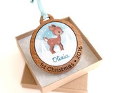 Baby's First Christmas Ornament Personalized Hand Embroidered Woodland Deer Custom Holiday Keepsake 2016