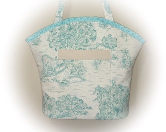 FREE Shipping USA Canada - J Castle Designs Boutique Bag - Mint Light Green French Toile Designer Fabric  - - (Ready to Ship)