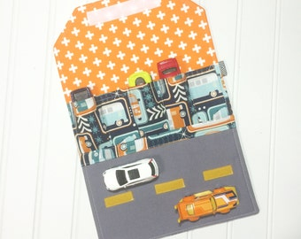Car Wallet - Holds 5 of your childs favorite cars - Trailer bus
