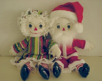 Raggedy Ann and Andy as Mr. and Mrs. Claus