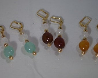 Genuine Gemstone Jewelry - 3 Color Agate & Snow Quartz - Earrings