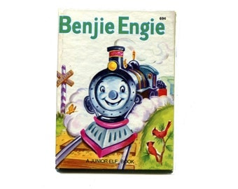 1950's Train Story Benjie Engie Little Junior Elf Book Small Hardcover Vintage Childrens Book Happy Story Take Your Time Color Illustrations