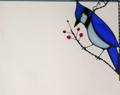 Bird / Blue Jay /stained glass window corner  / top right / NEW