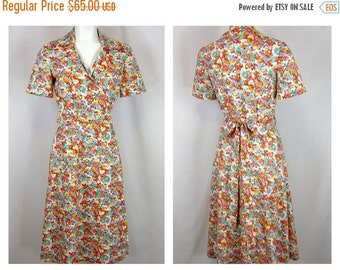 Vintage 70s Does 40s Wrap Dress, Cotton Print, Sz S, M