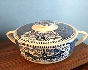 Vintage Currier  & Ives Casserole Dish