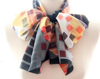 Geometric Silk Scarf - Autumn Squares