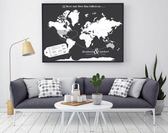 Couples INTERACTIVE Travel Map - Mark the places you've visited / Gift for Wedding / Your choice of Canvas or Art Print // H-I15-1PS HH7 06P