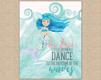 Mermaid Nursery Art, Baby Girl Room Decor,  Mermaid Nursery Print,  Mermaid Girl's Room Art / Art Print or Canvas / N-XM14 - 1PS AA1 05P