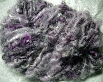 Handspun Corespun Hand Dyed Lincoln Longwool Bulky Wool Yarn in Lavender and Silver Grey by KnoxFarmFiber for Knitting Crochet Embellishment