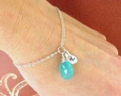 2-DAY 20% OFF SALE Personalized bracelet, Bridesmaid gifts, Aqua jewelry, aqua chalcedony, initial bracelet, personalized jewelry, sterling