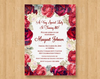 Vintage Elegant Floral / Flowers Adult Birthday Party Bridal Shower Personalized Invitation .JPEG File Red