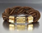 FINAL PAYMENT Engraved Gold Hair Bracelet, Victorian Bracelet, Woven Hair Mourning Bracelet, Antique Jewelry, Victorian Mourning Jewelry