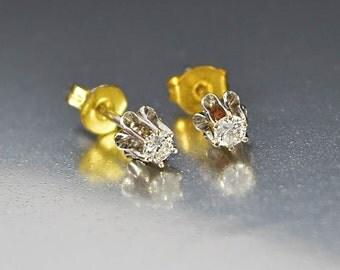 Vintage 14K White Gold Diamond Stud Earrings, Diamond Earrings, Post Earrings, Gemstone Earrings, Pierced Earrings, Bridal Earrings, Wedding