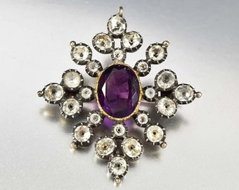 Antique Georgian Amethyst Brooch Pendant, Black Dot Paste Diamond Brooch, Antique Jewelry, Silver 9K Gold Amethyst Pendant Georgian Jewelry