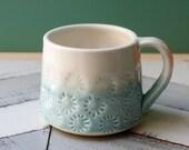 porcelain coffee mug in aqua