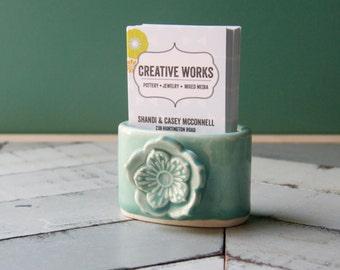 business card holder for desk, aqua with flower