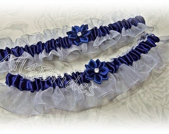 Weddings bridal garter set in silver grey and navy blue.  Bridal accessories.