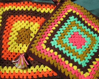 Granny Squares Crocheted Pillow Covers Pair Bright, Colorful Vintage Handmade Crochet