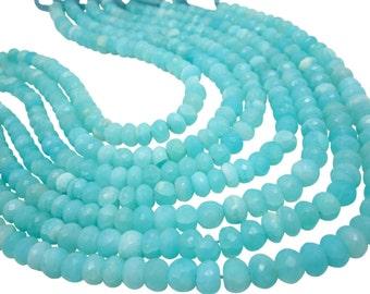 Blue Peruvian Opal Beads, Peruvian Opal Beads, Blue Opal Rondelles, Blue Opal Beads, Faceted Rondelles, SKU 4811