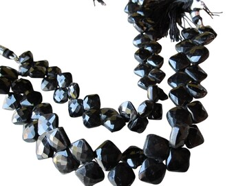 Black Spinel Beads Briolettes, Diamond Briolettes, 10mm, Jet Black Gemstone, Black Spinel Briolettes, SKU 3149A