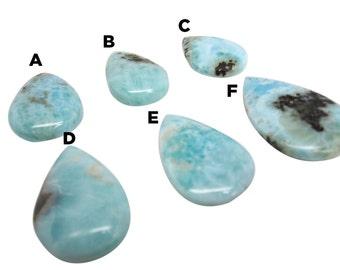 Larimar Cabochon, Pear Shape Cabochon, Larimar Pendant, Larimar Stone, Blue Dominican Larimar, Larimar Briolette, SKU 4768