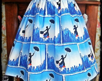 Ladies/girls bespoke Mary Poppins skirt all sizes made to order Disney Vintage Retro wiggle swing pencil different styles