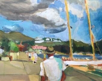 Caribbean St. Thomas West Indies Art Large Original Watercolor, St. Thomas Clouds Dock Harbor Boats Wood Frame Fine Art Gwen Meyerson