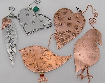 Tree Ornaments.Set of 5.Mixed Metal Ornaments.Pure Copper Ornaments.Silver Tin Ornaments.Wholesale Priced.ONSALE FOR APRIL.