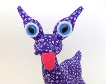 Cute Monster Plush, Monster Bunny, Monster Toy, Stuffed Monster, Purple Monster by Adopt an Alien named Deja