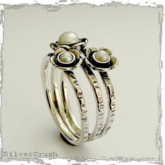 Pearls ring silver engagement ring hippie ring nature ring