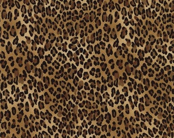 203518 brown black small leopard print fabric Timeless Treasures