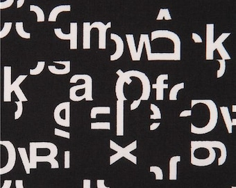 206689 black 'Typography' white letter Cloud 9 organic cotton fabric