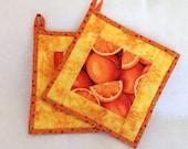 Quilted Orange Zest Potholders