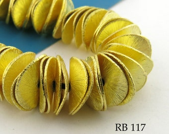 12mm Gold Tone Potato Chip Beads Wavy Disk Brushed Gold (RB 117) Full Strand 92 pcs BlueEchoBeads