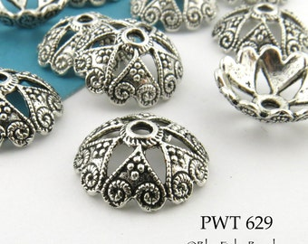 14mm Large Pewter Bead Cap, Celtic Heart, Antiqued Silver (PWT 629) 10 pcs BlueEchoBeads