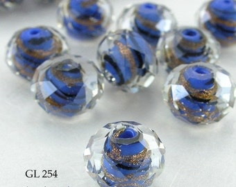 ON SALE Faceted Rondelle Glass Beads 12 mm Blue Gold Foil Wavy Stripes (GL 254) blueecho 5 pcs