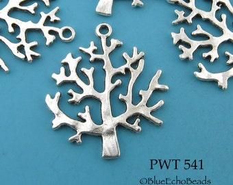 32mm Pewter Tree of Life Charm, Tree of Life, Pendant 32mm x 27mm (PWT 541) 8 pcs BlueEchoBeads