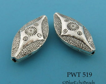 37mm Large Pewter Oval Beads Hollow Antique Silver (PWT 519) 2 pcs BlueEchoBeads