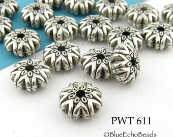9mm Pewter Puffy Rondelle Bead, Star Rondelle Bead, Antiqued Silver (PWT 611) 16 pcs BlueEchoBeads