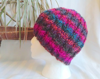 Cable Beanie. Knit Hat. Passion Fruit. Magenta. Turquoise. Brown. Green. Orange. Womens Hats. Gifts for Women. Naturally striping.