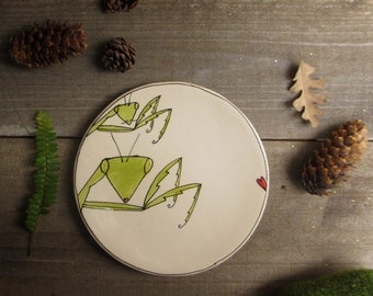 Small  ceramic plate, green praying mantis plate, bug dish, rustic home decor, child's plate