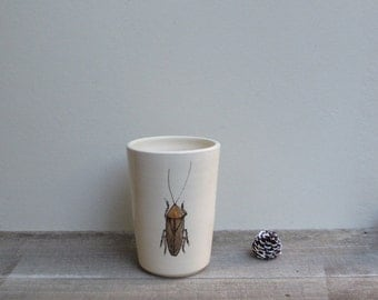 Brown cockroach cup, insect vase, woodland cabin home decor toothbrush / pencil holder, Father's day gift