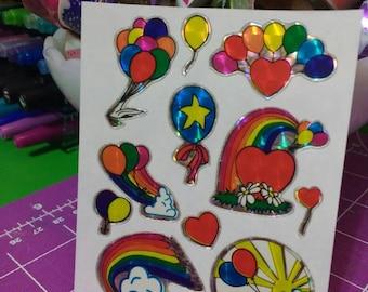 Rare Vintage Prism Rainbow Balloon Stickers 1980s