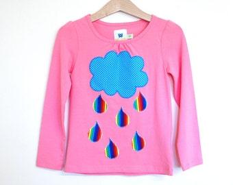 Girls customised cotton t-shirt RAINBOW - Any size