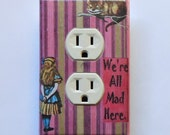 Pink choices- Alice switch & outlet cover plates with MATCHING SCREWS- Alice in Wonderland wall decor Alice nursery Alice electrical outlets