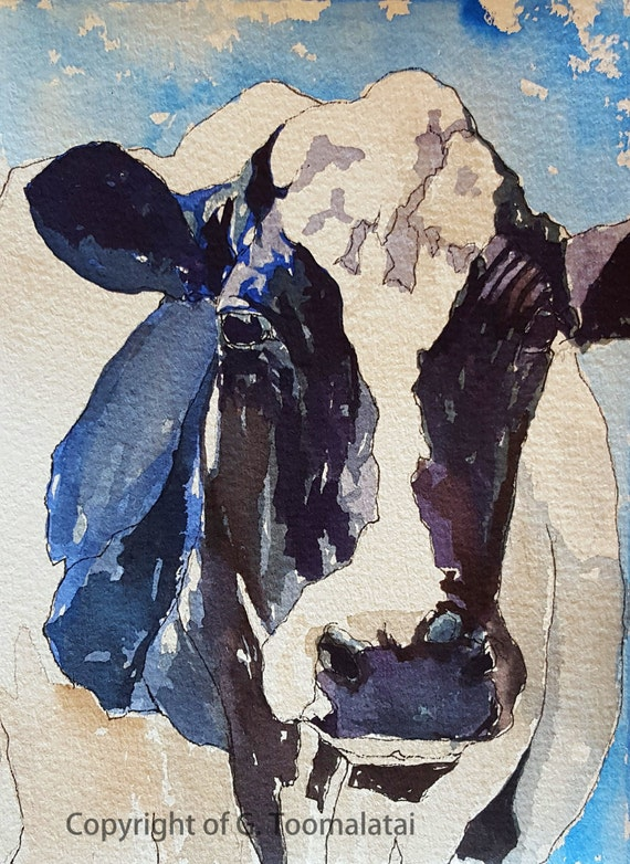 Big blue holstein cow print of original watercolor 11 by for 11x14 paper size