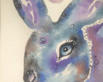 The Wise Rabbit Rabbit Original Watercolor Painting 6x9 Nature wildlife
