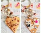 Go Vegan double sided keychain